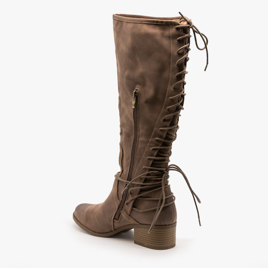 Womens Knee High Lace-Up Boots - AMS Shoes
