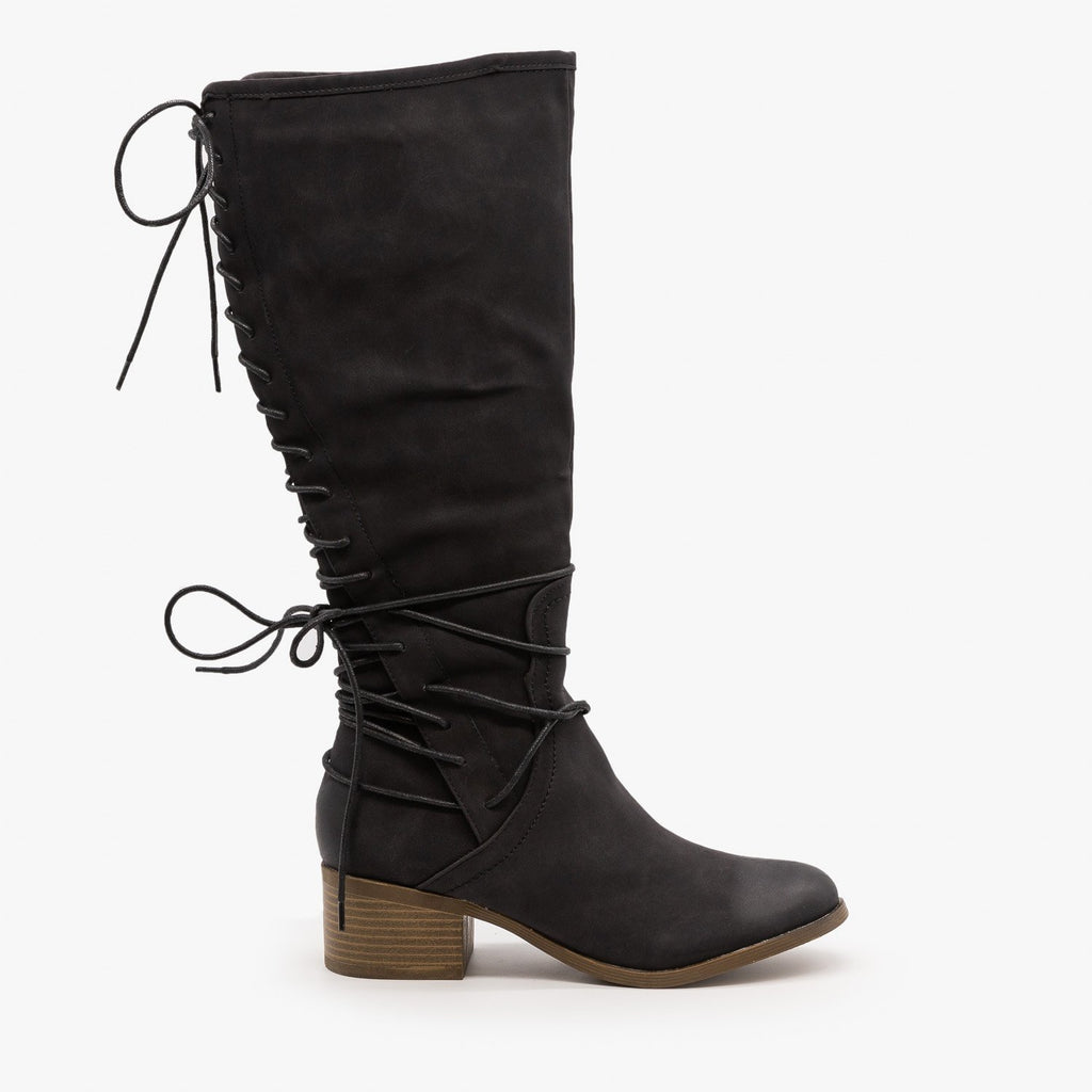 Womens Knee High Lace-Up Boots - AMS Shoes - Black / 5