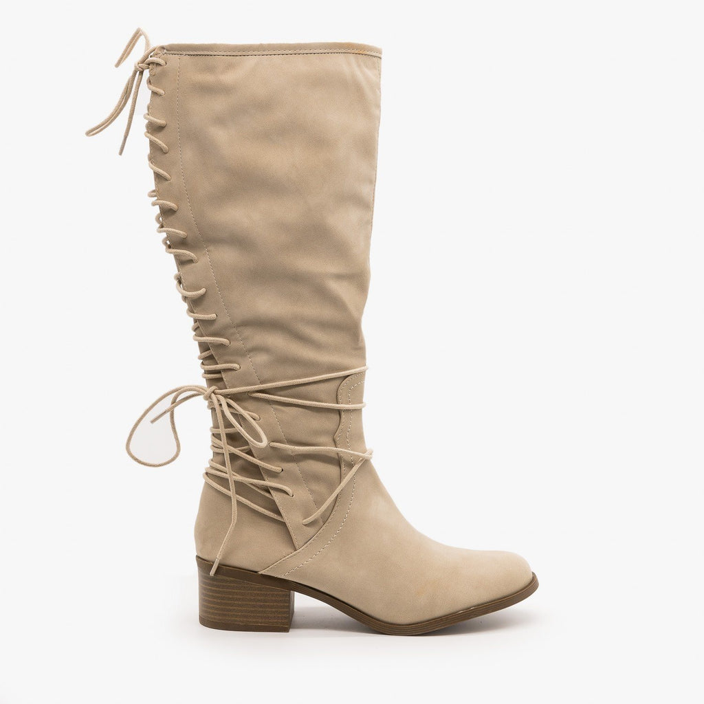 Womens Knee High Lace-Up Boots - AMS Shoes - Stone / 5