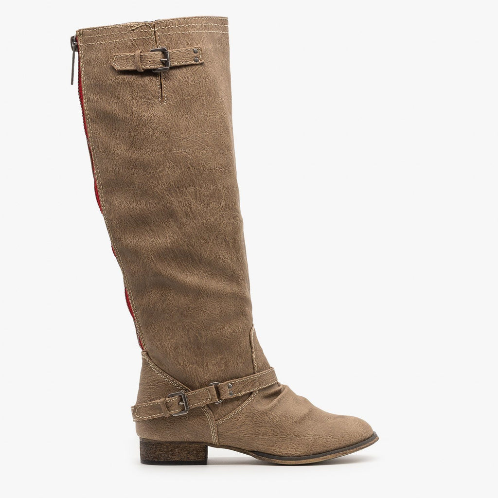 Womens Knee High Riding Boots - Breckelles - Taupe / 5