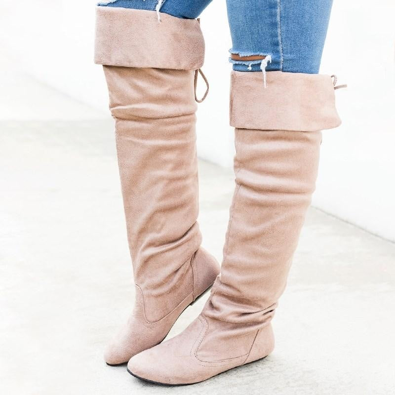Women's Knee-High Suede Boots - Forever - Taupe / 5
