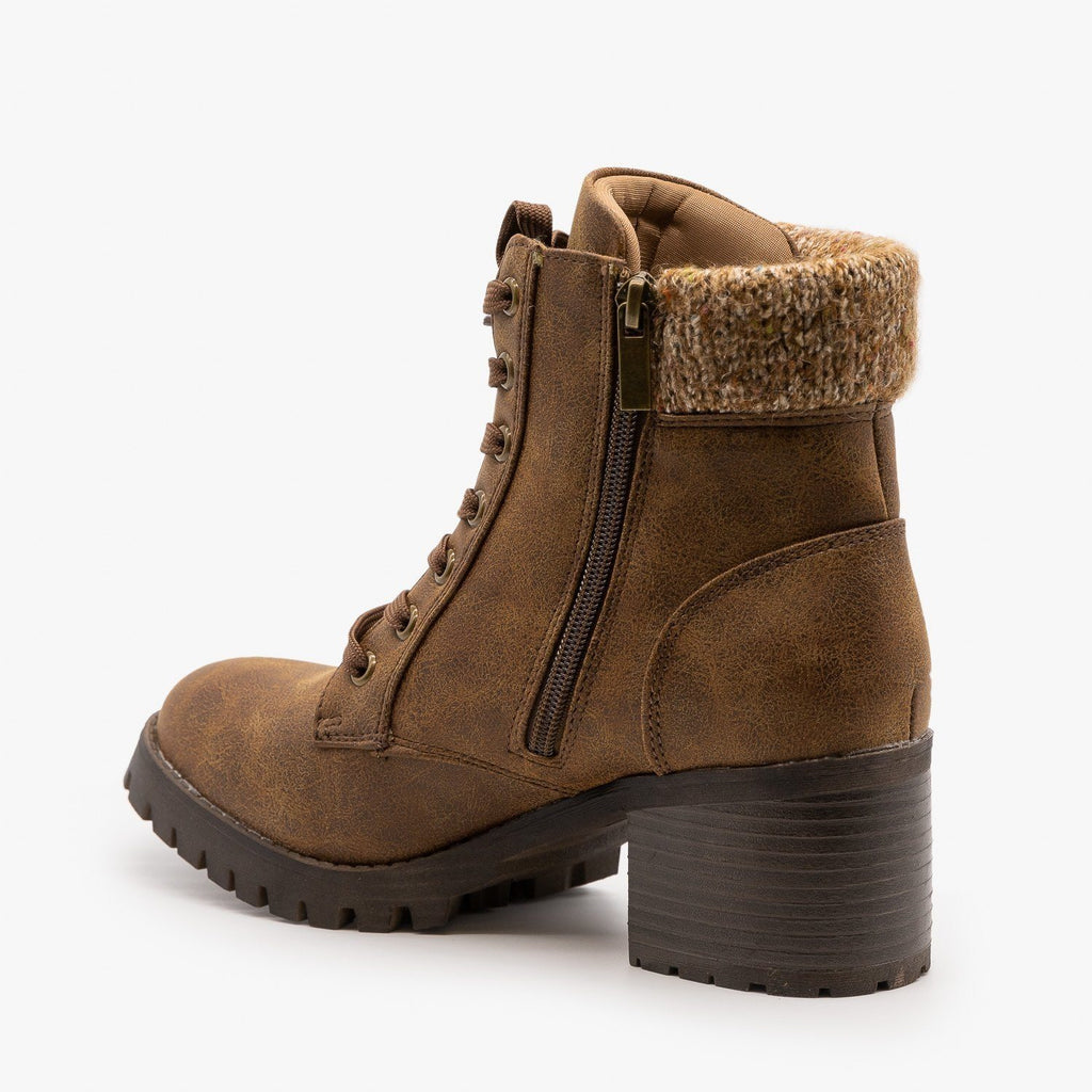 Womens Knit Cuff Combat Boots - Bamboo Shoes