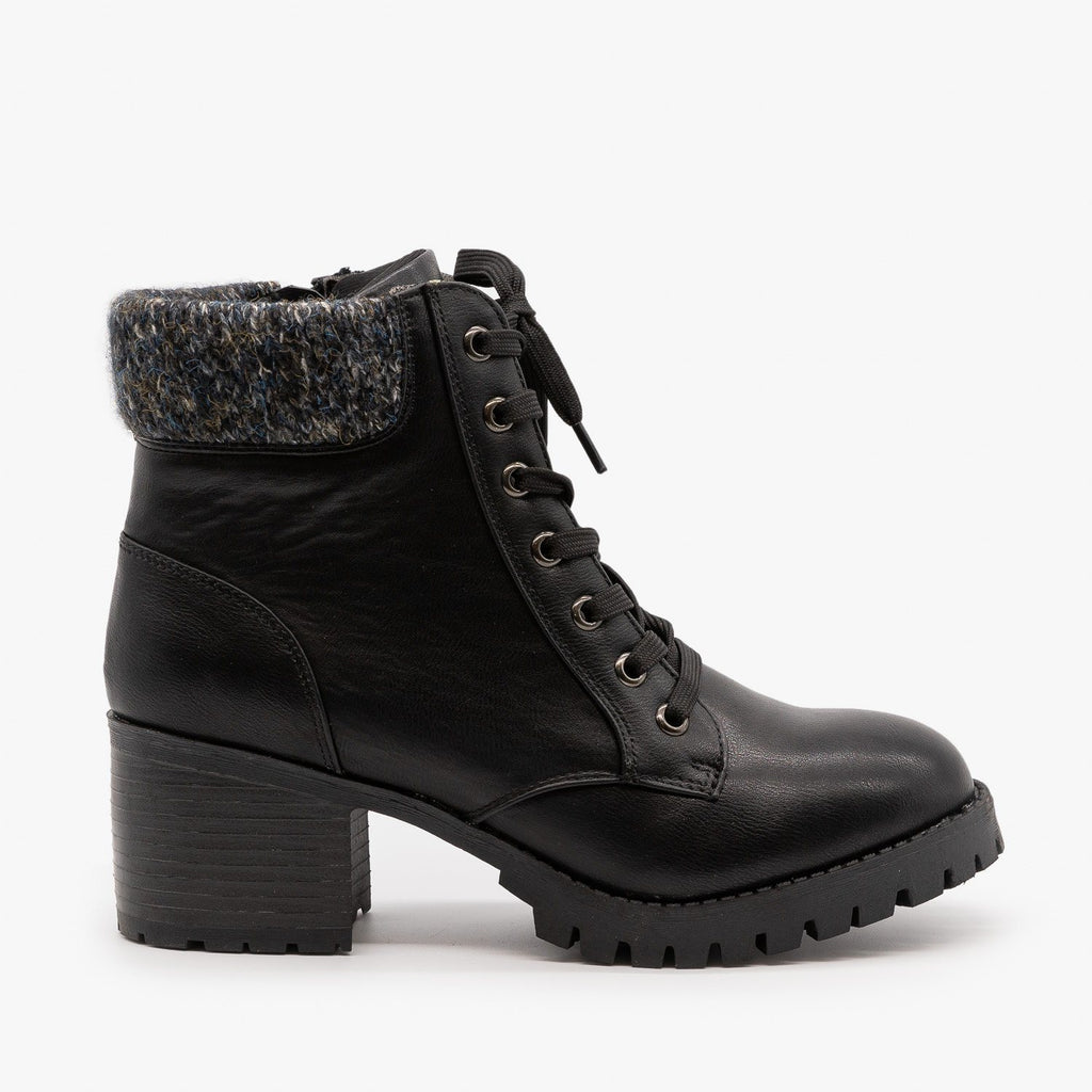 Womens Knit Cuff Combat Boots - Bamboo Shoes - Black / 5