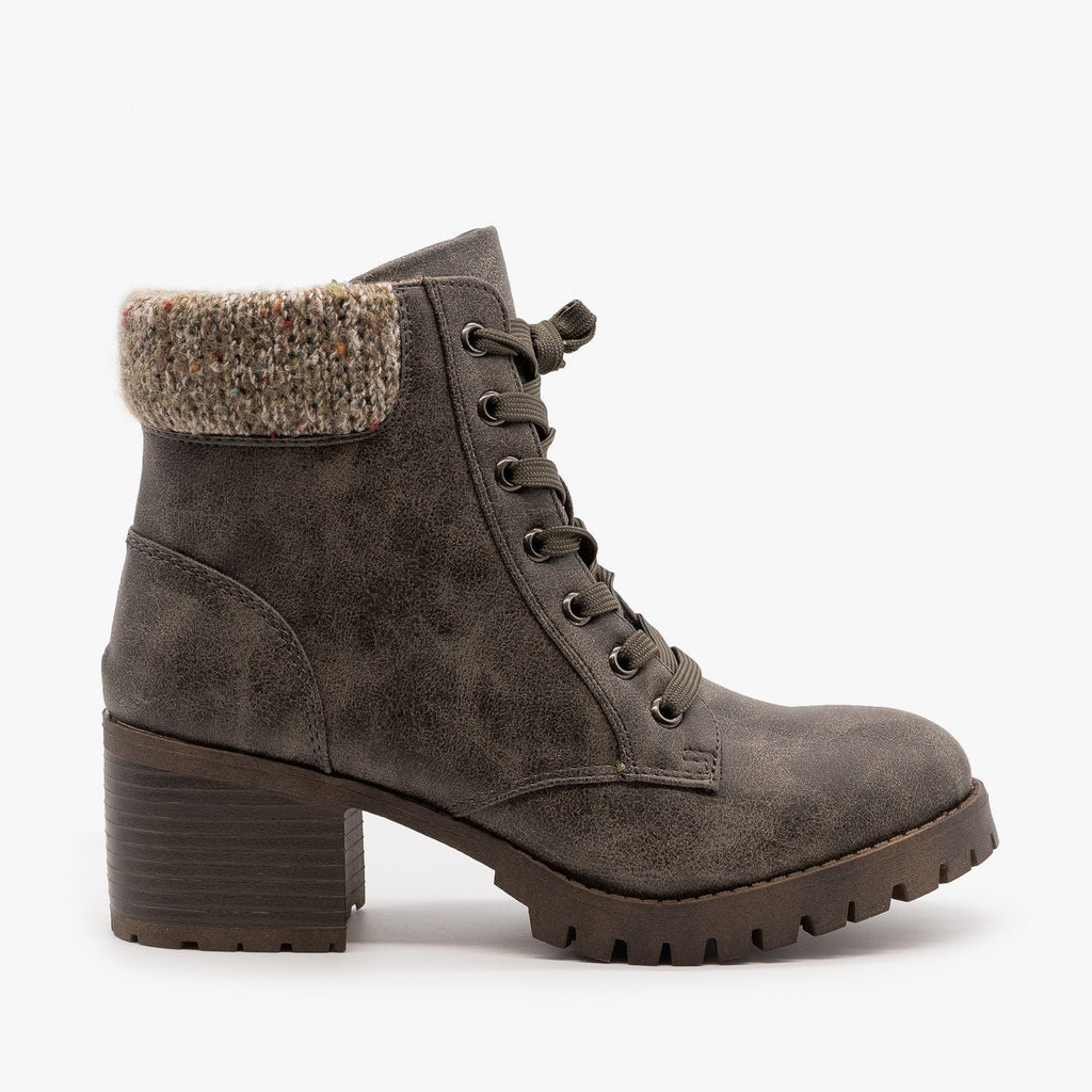 Womens Knit Cuff Combat Boots - Bamboo Shoes - Gray / 5