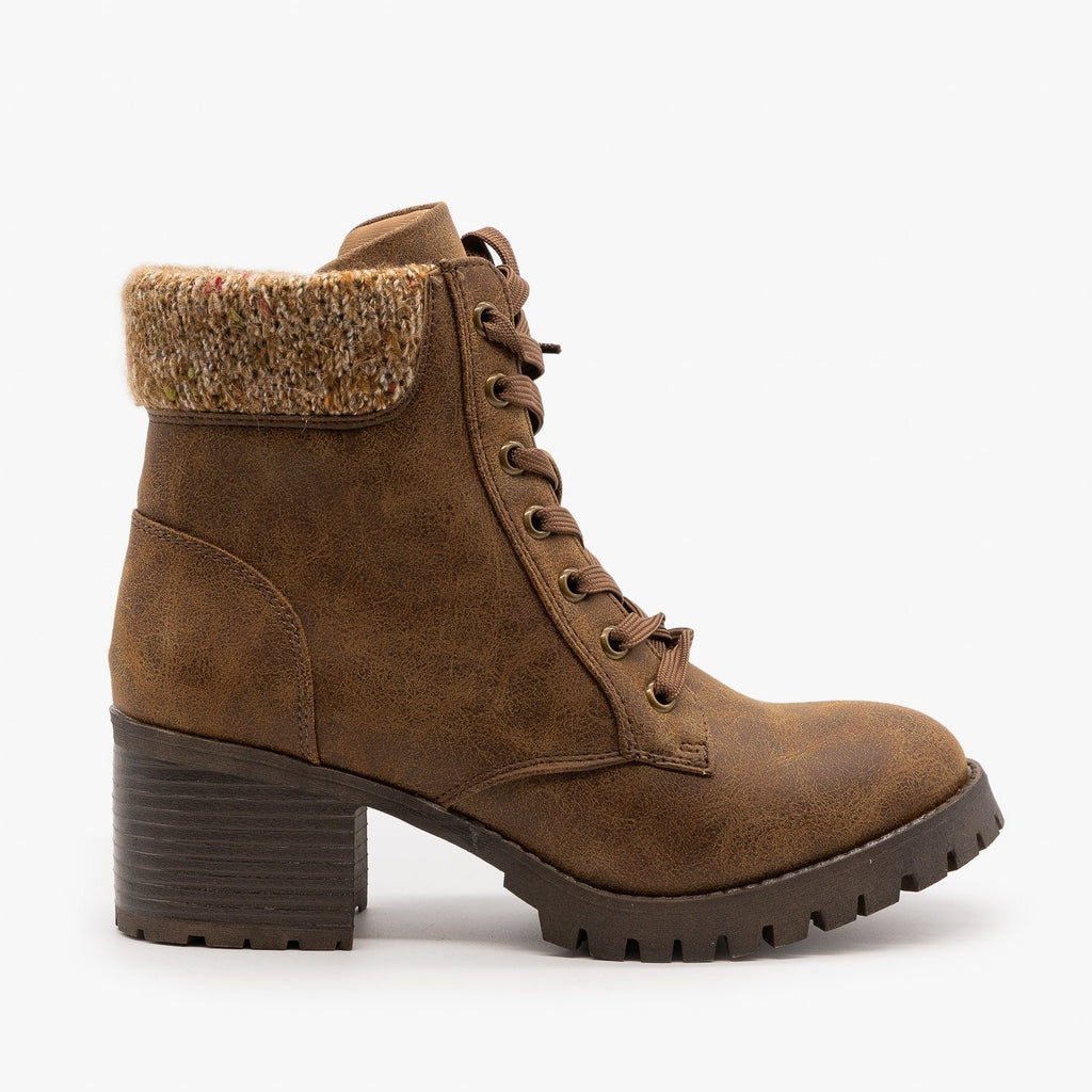 Womens Knit Cuff Combat Boots - Bamboo Shoes - Tan / 5