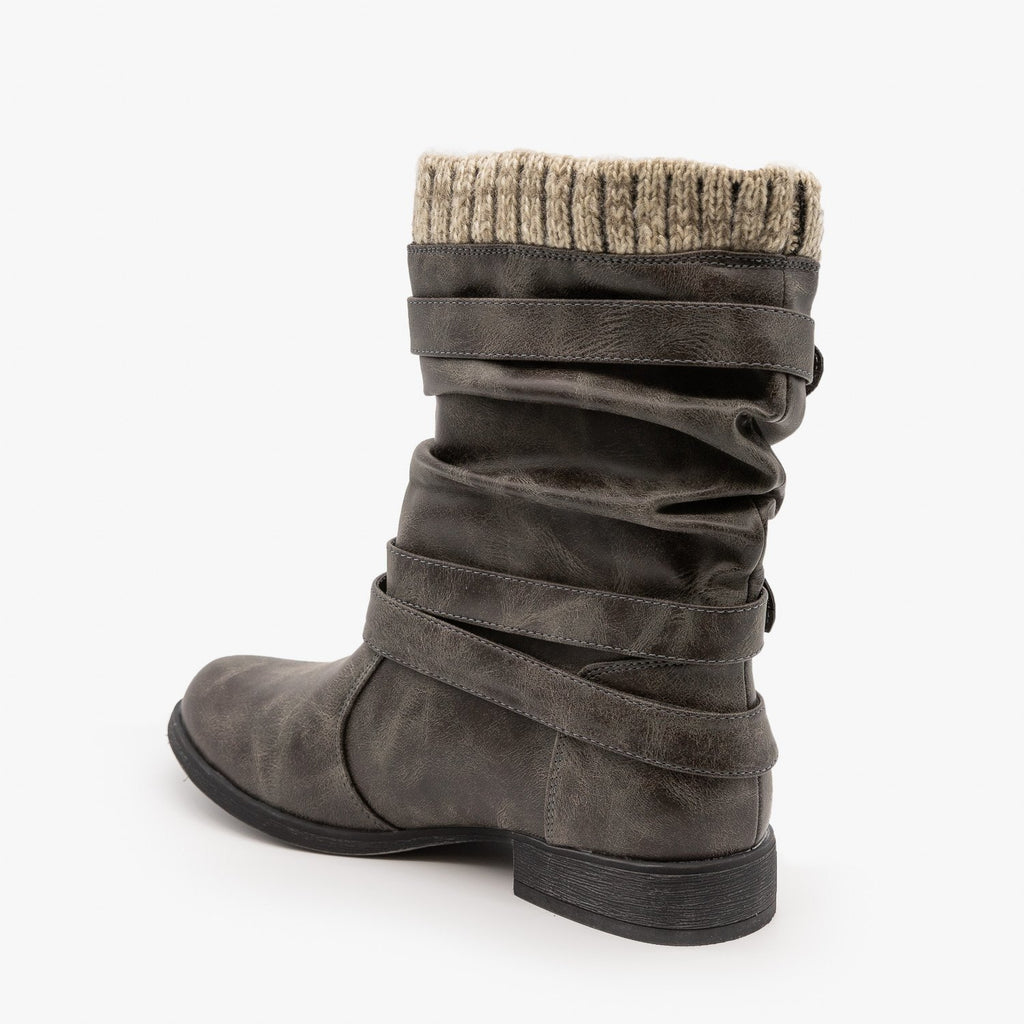 Womens Knitted Cuff Buckle Boots - Unilady