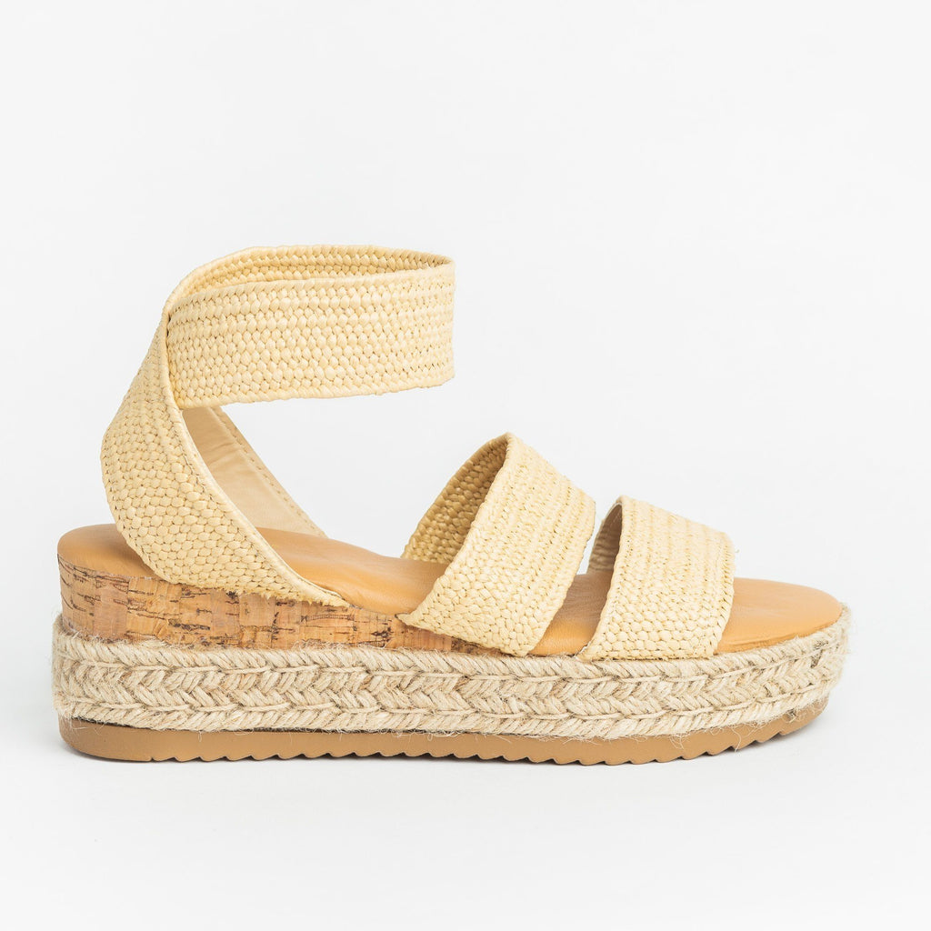 Womens Knitted Espadrille Cork Wedges - Bamboo Shoes - Natural / 5