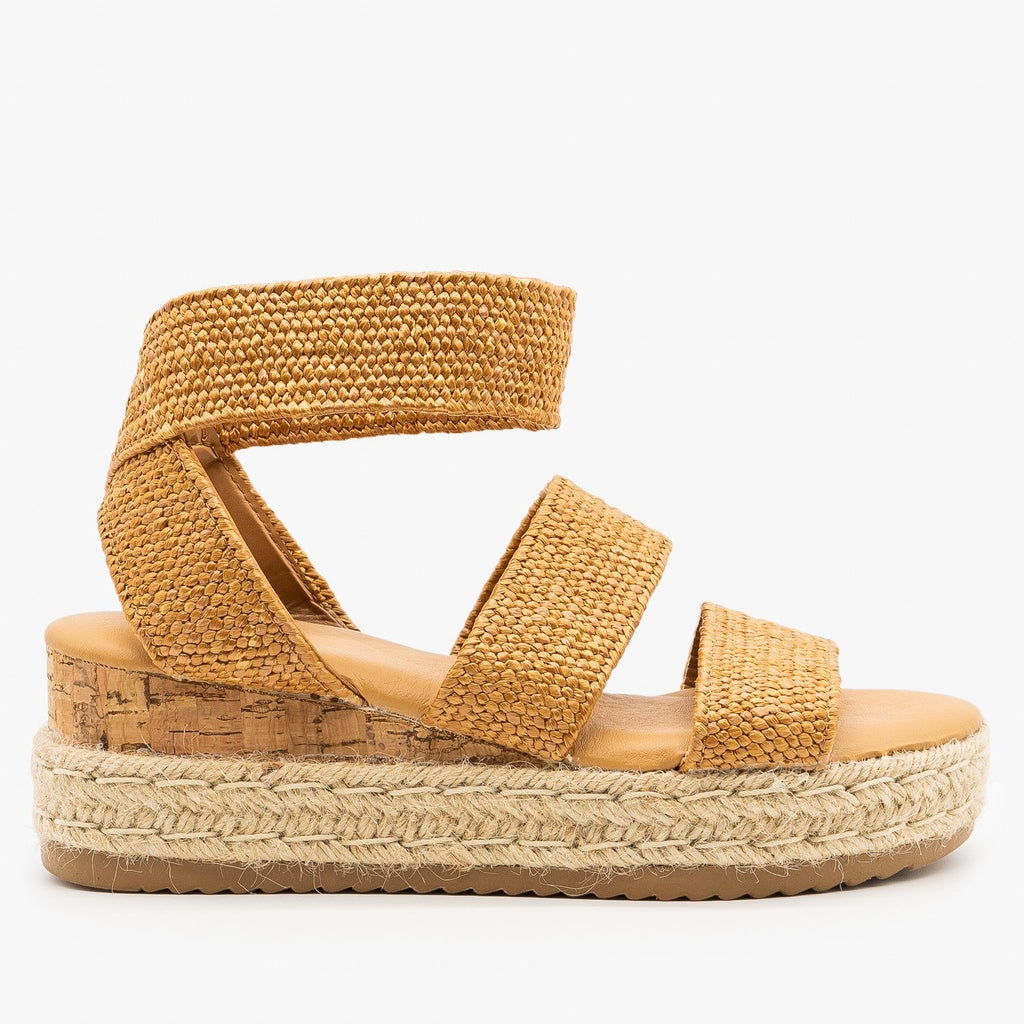 Womens Knitted Espadrille Cork Wedges - Bamboo Shoes - Tan / 5