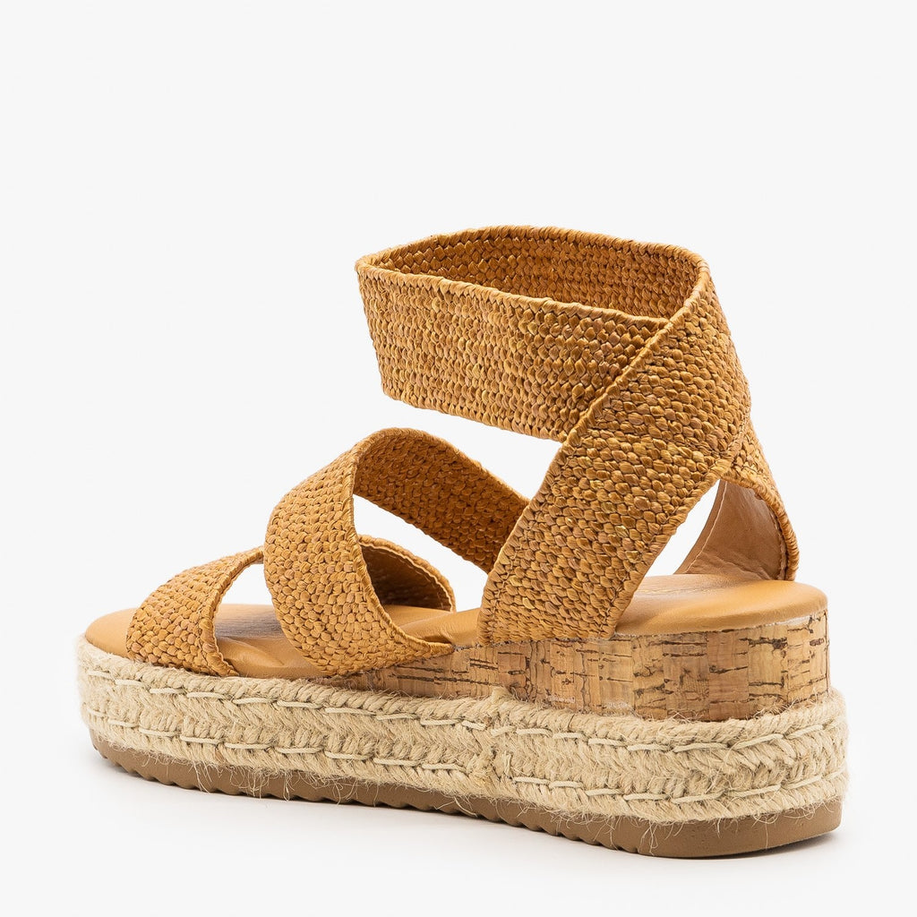 Womens Knitted Espadrille Cork Wedges - Bamboo Shoes