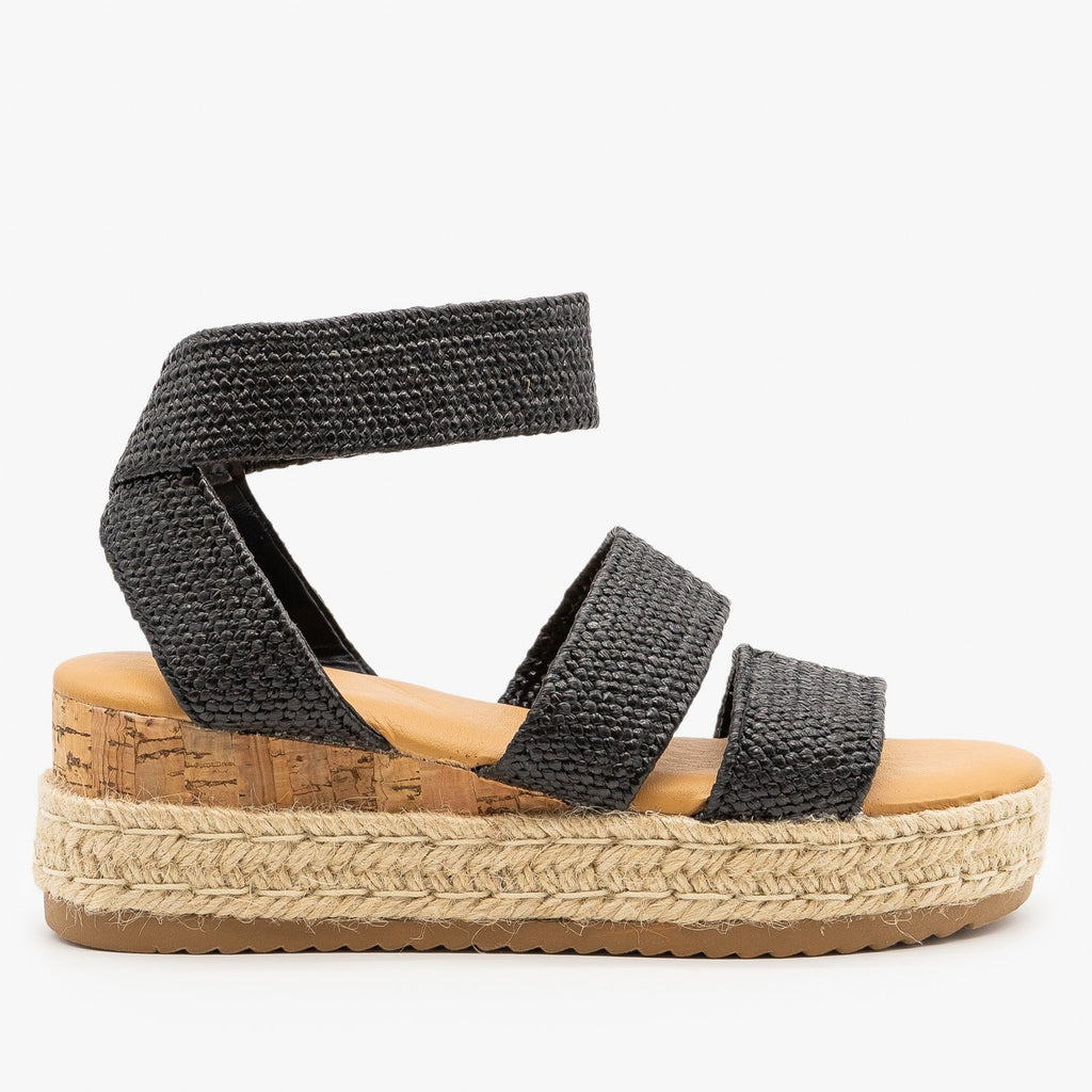 Womens Knitted Espadrille Cork Wedges - Bamboo Shoes - Black / 5