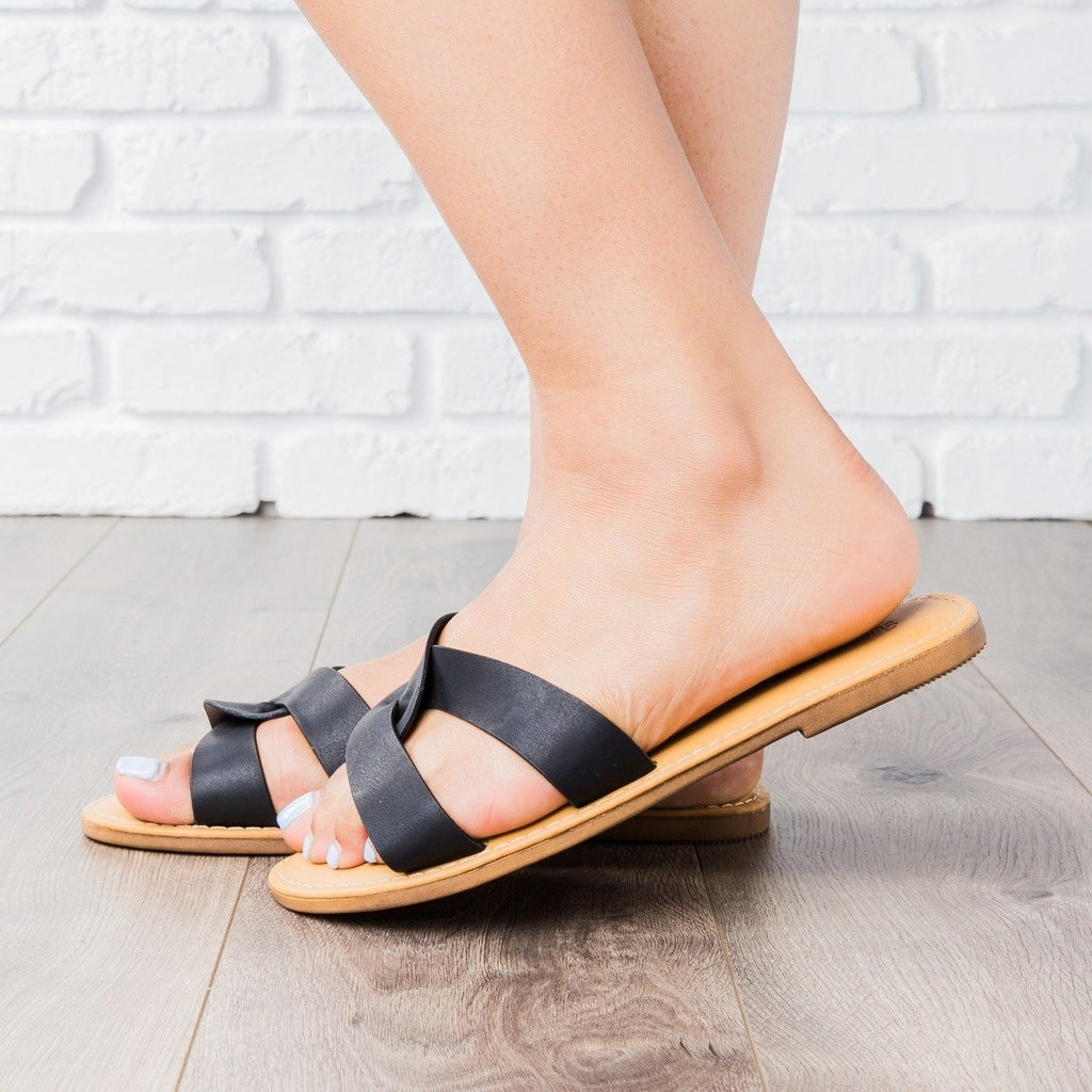 Womens Knot Strap Slides - Sunny Feet
