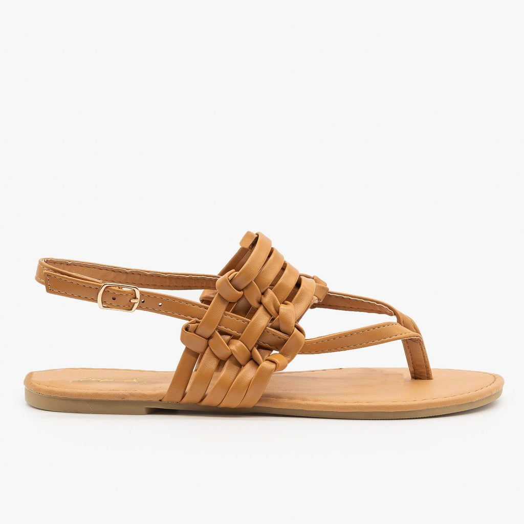 Womens Knotted Basketweave Sandals - Qupid Shoes - Camel / 5