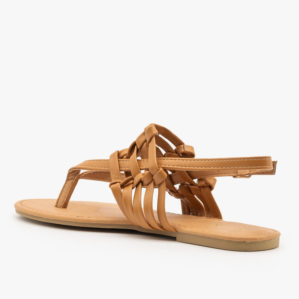 Womens Knotted Basketweave Sandals - Qupid Shoes