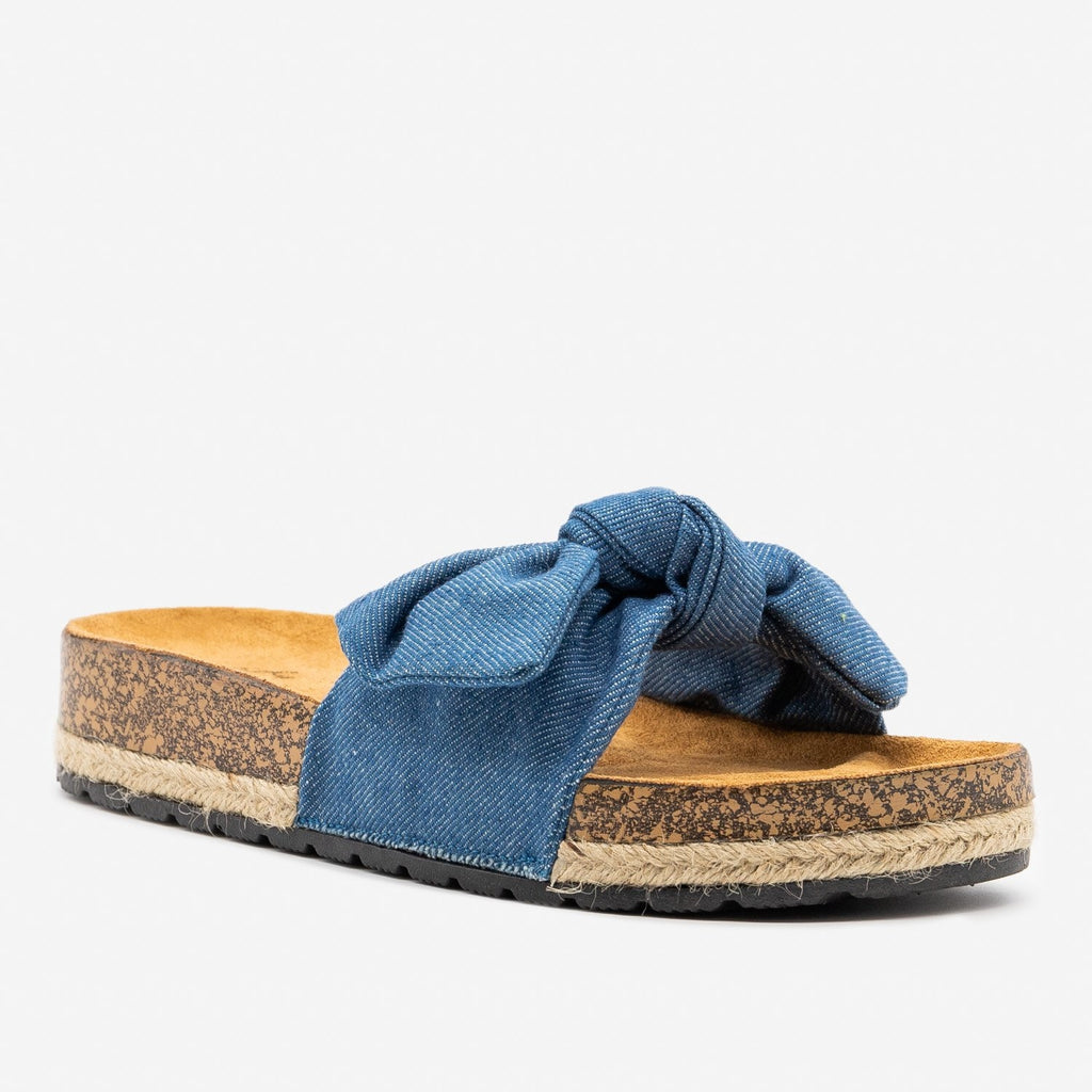 Women's Knotted Denim Cork Slides - Qupid Shoes