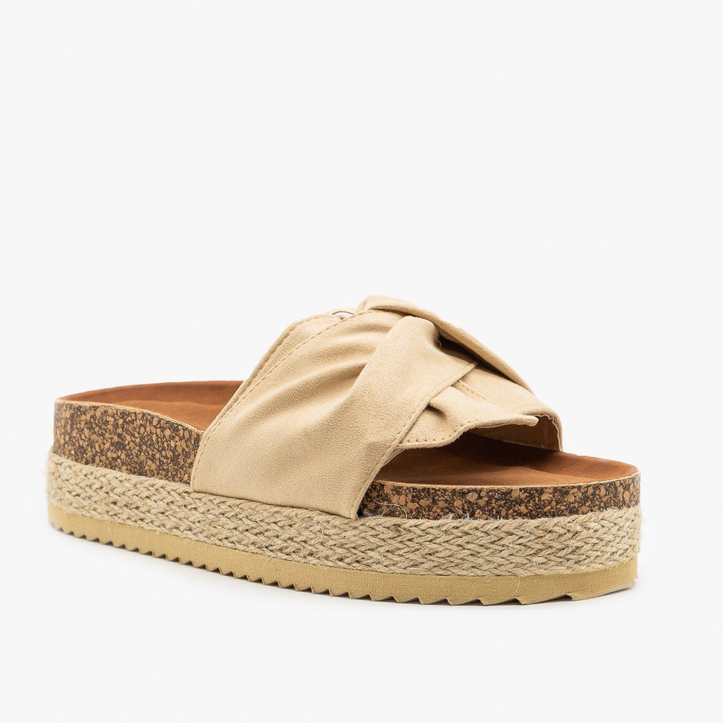 Womens Knotted Espadrille Cork Slides - Nature Breeze - Beige / 5