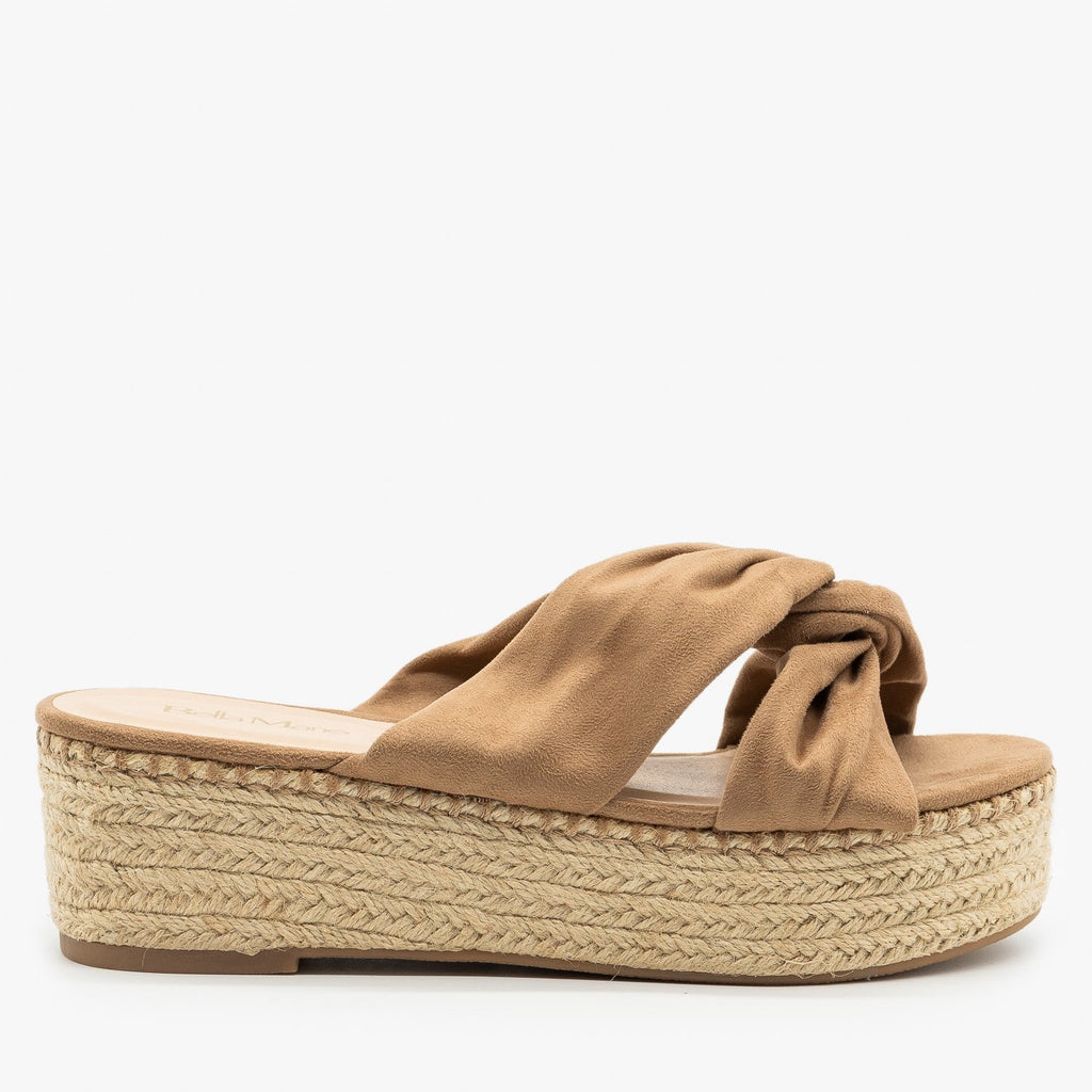 Womens Knotted Espadrille Platform Sandals - Bella Marie - Taupe / 5