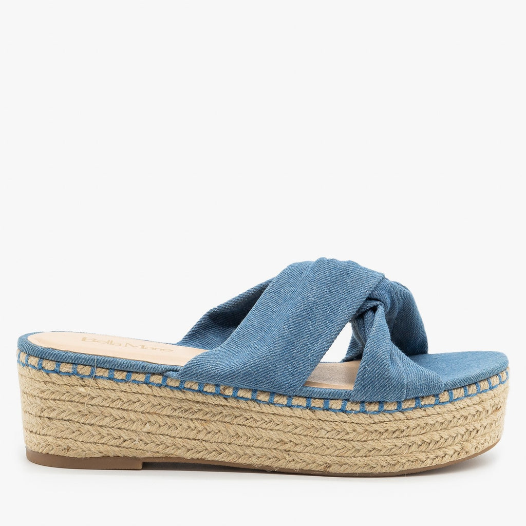 Womens Knotted Espadrille Platform Sandals - Bella Marie - Denim / 5