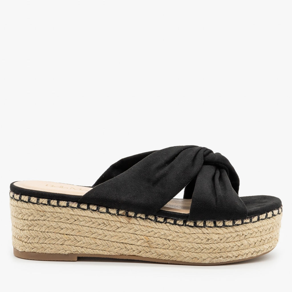 Womens Knotted Espadrille Platform Sandals - Bella Marie - Black / 5