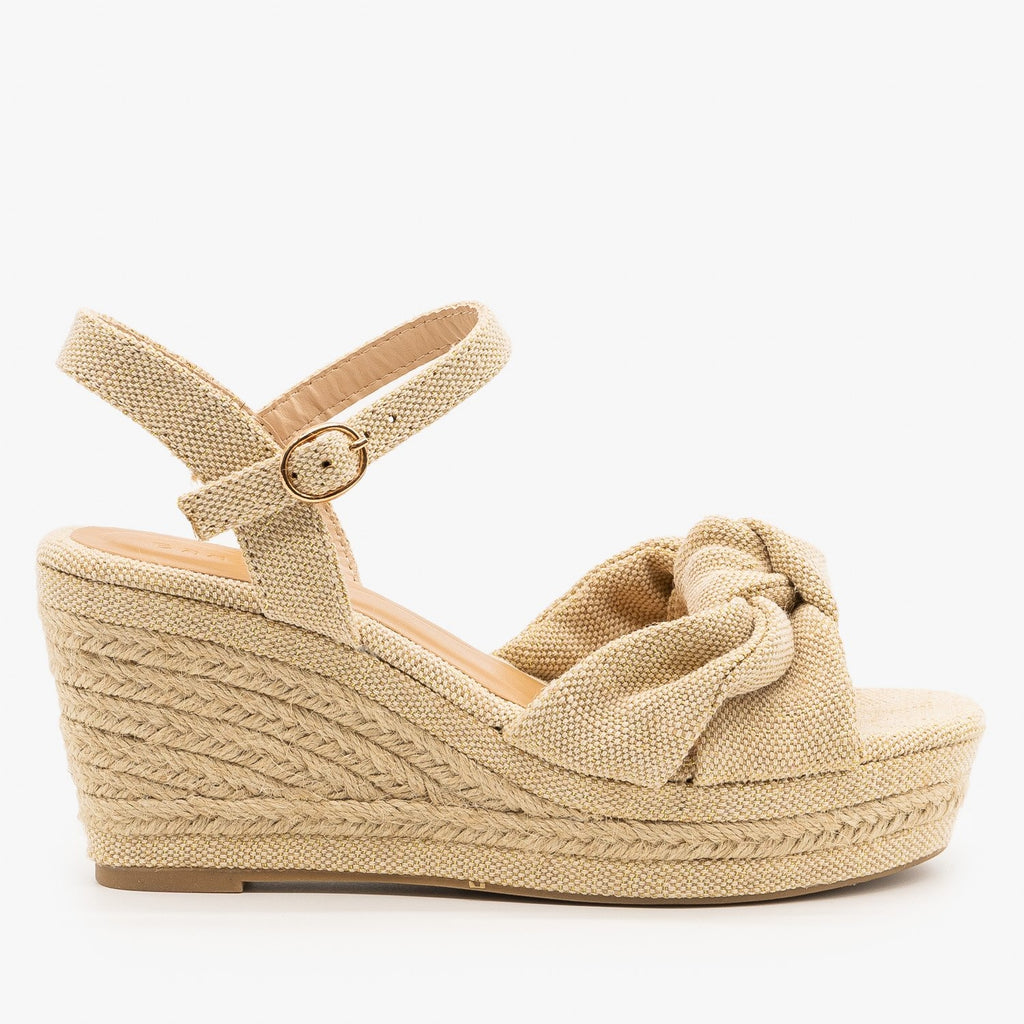Womens Knotted Espadrille Sandal Wedges - Bamboo Shoes - Natural / 5
