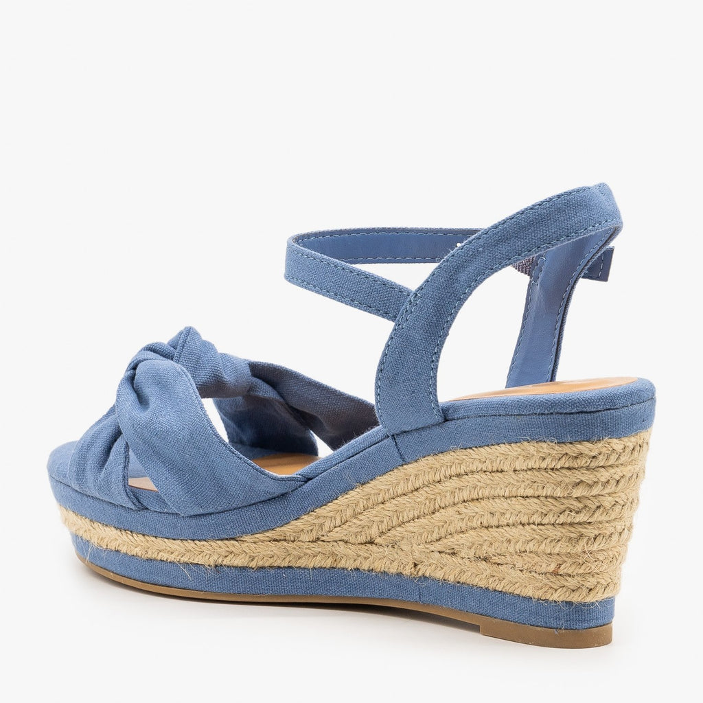 Womens Knotted Espadrille Sandal Wedges - Bamboo Shoes