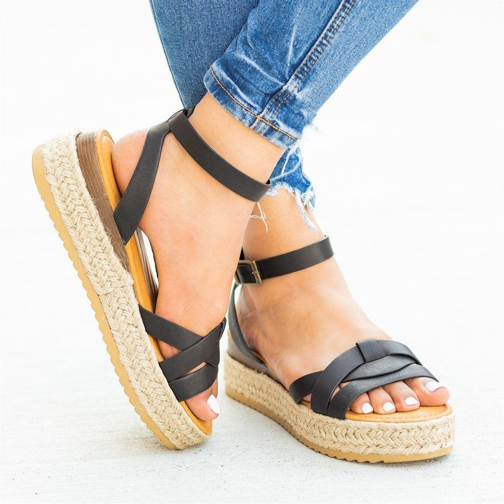 Womens Knotted Espadrille Sandal Wedges - Bamboo Shoes - Black / 5