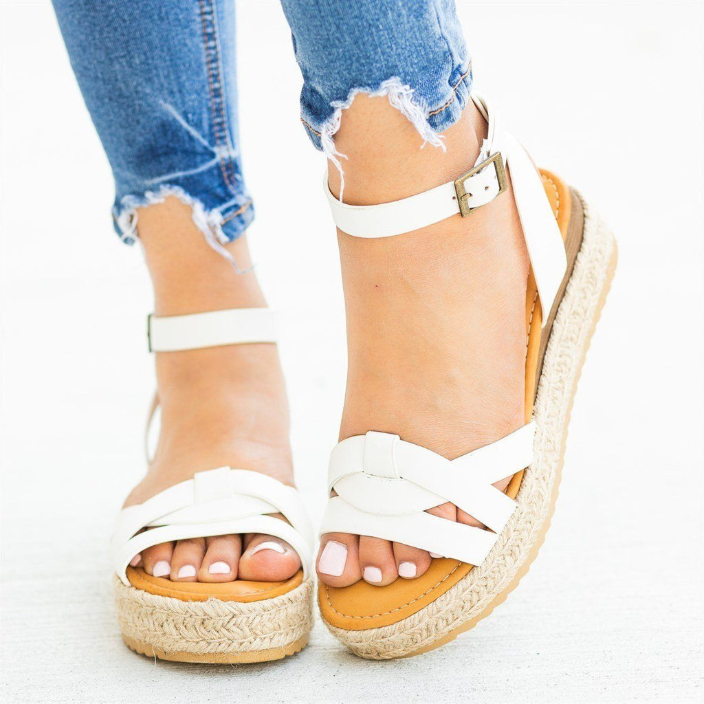 Womens Knotted Espadrille Sandal Wedges - Bamboo Shoes - White / 5