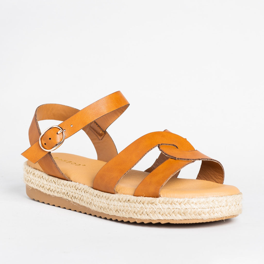 Womens Knotted Espadrille Sandals - Bamboo Shoes - Tan / 5