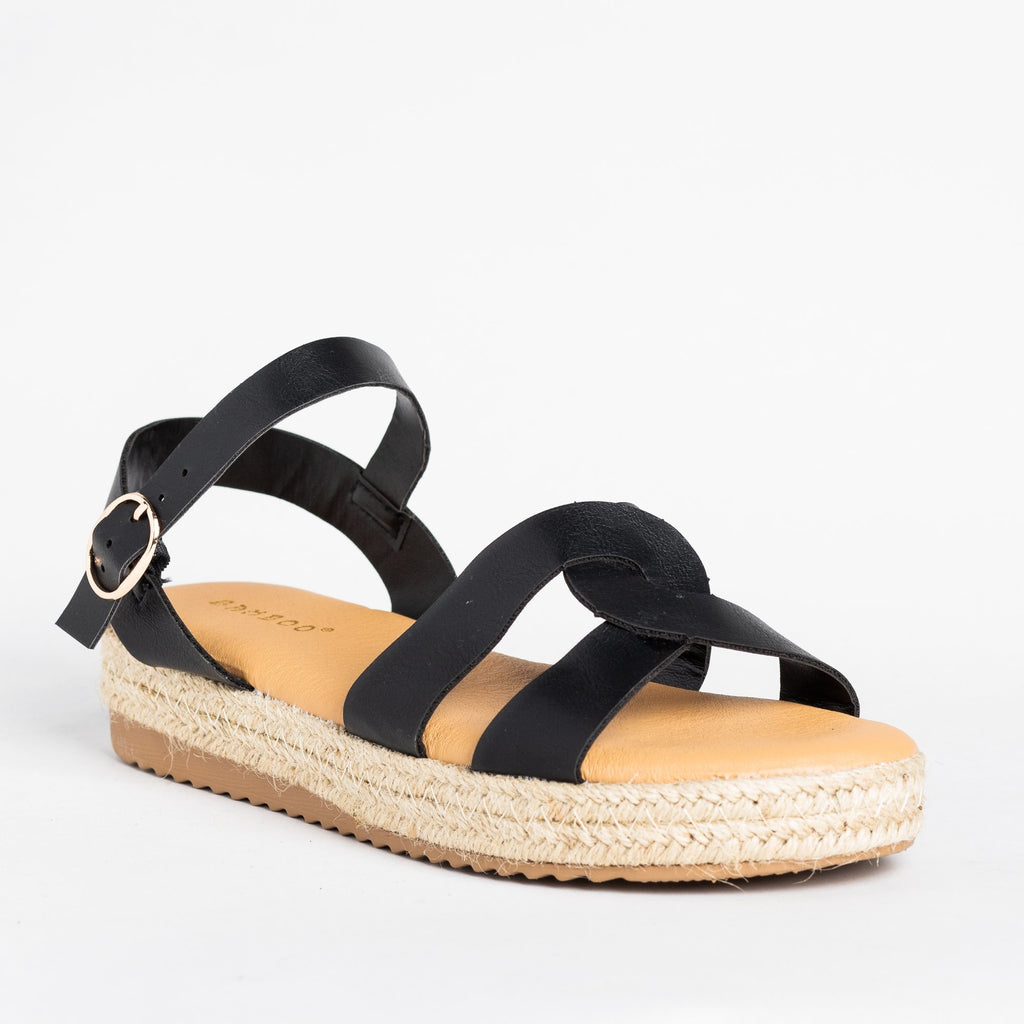 Womens Knotted Espadrille Sandals - Bamboo Shoes - Black / 5