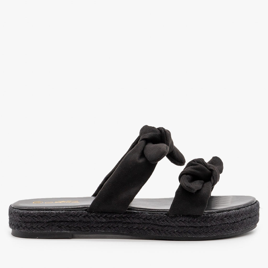 Womens Knotted Espadrille Sandals - Mata - Black / 5