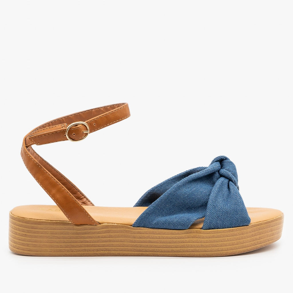 Womens Knotted Flatform Sandals - Bamboo Shoes - Blue Denim / 5