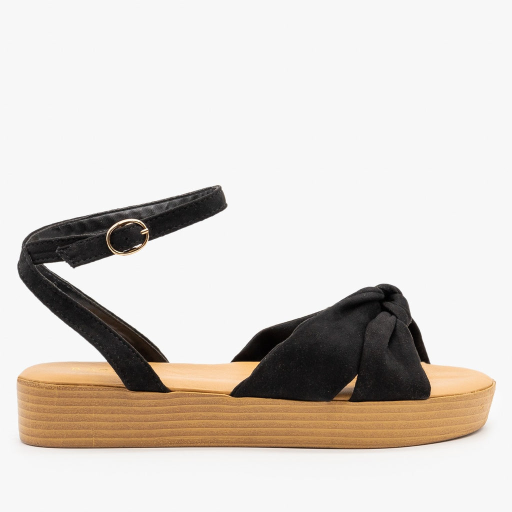 Womens Knotted Flatform Sandals - Bamboo Shoes - Black / 5