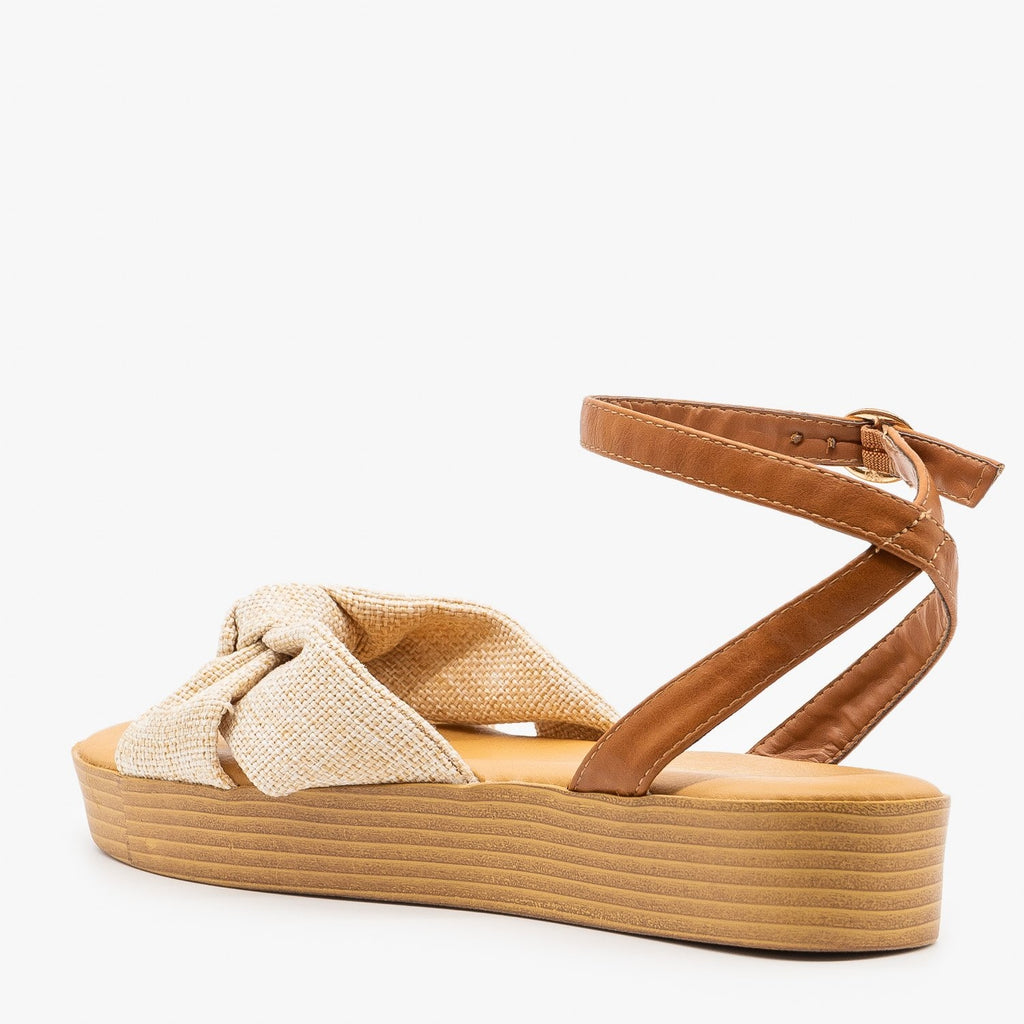 Womens Knotted Flatform Sandals - Bamboo Shoes