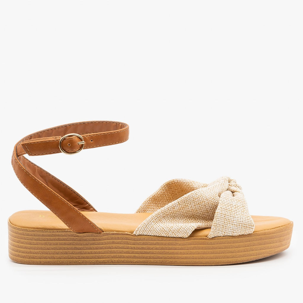 Womens Knotted Flatform Sandals - Bamboo Shoes - Natural / 5