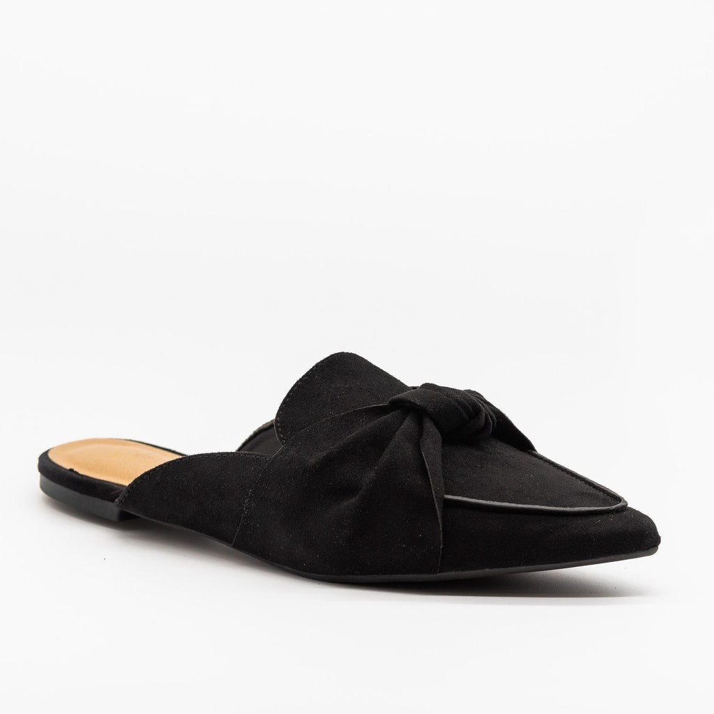 Womens Knotted Loafers - Bamboo Shoes - Black / 5