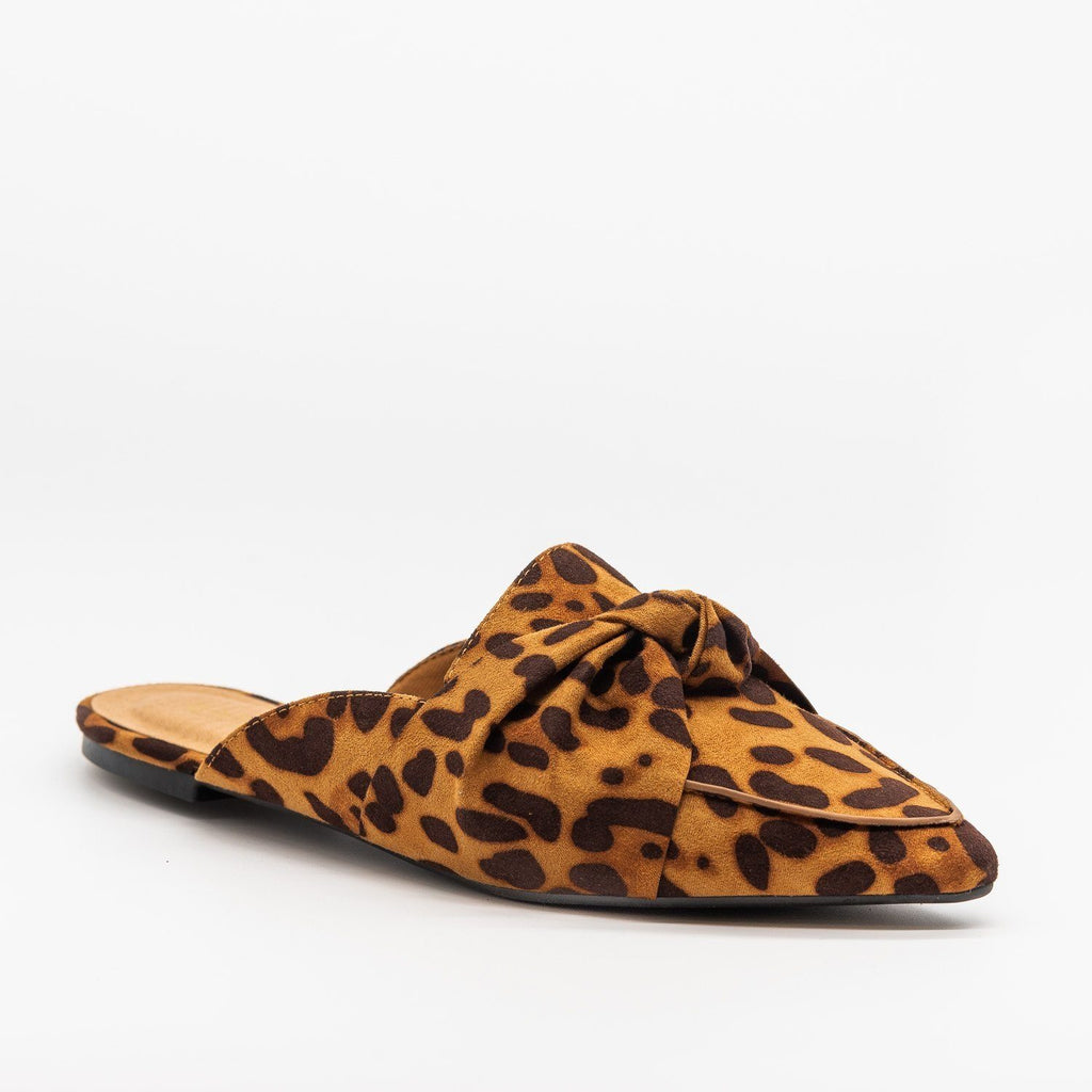 Womens Knotted Loafers - Bamboo Shoes - Leopard / 5