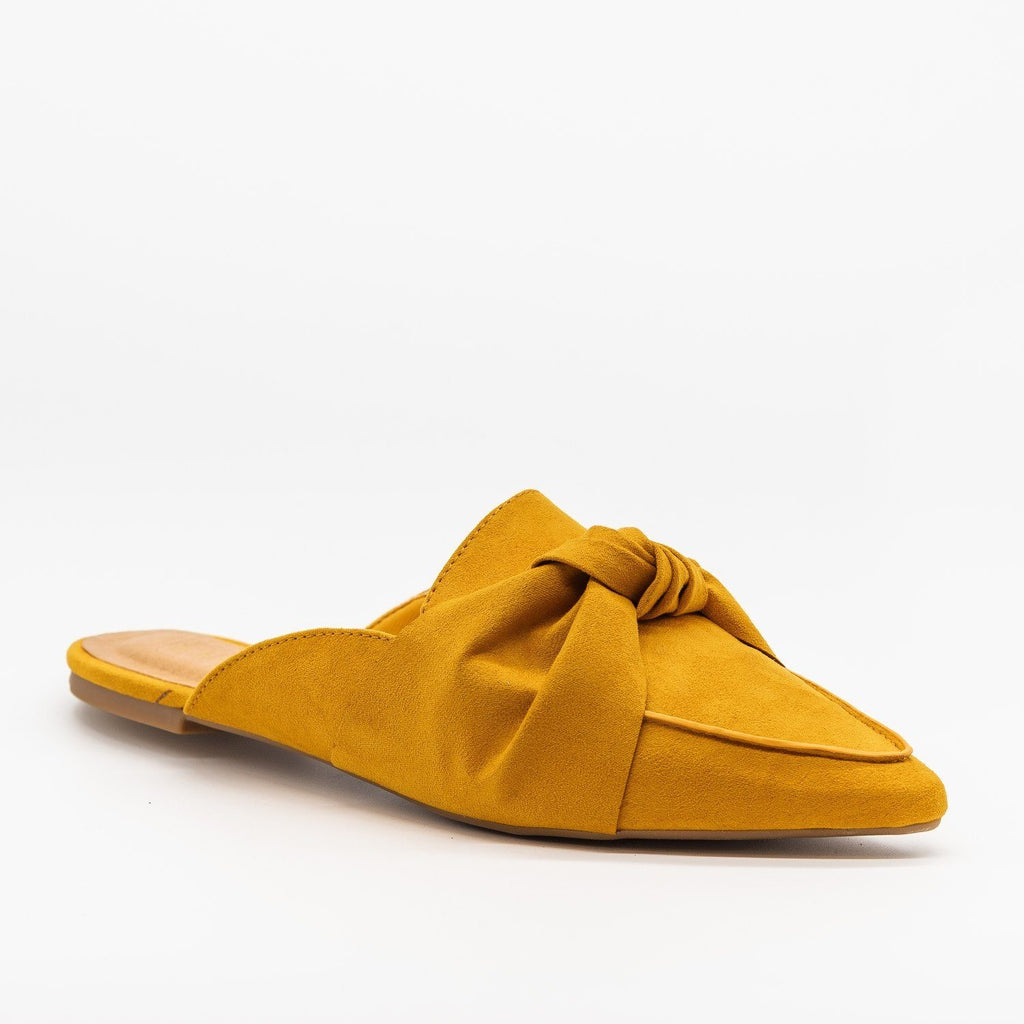 Womens Knotted Loafers - Bamboo Shoes - Mustard / 5