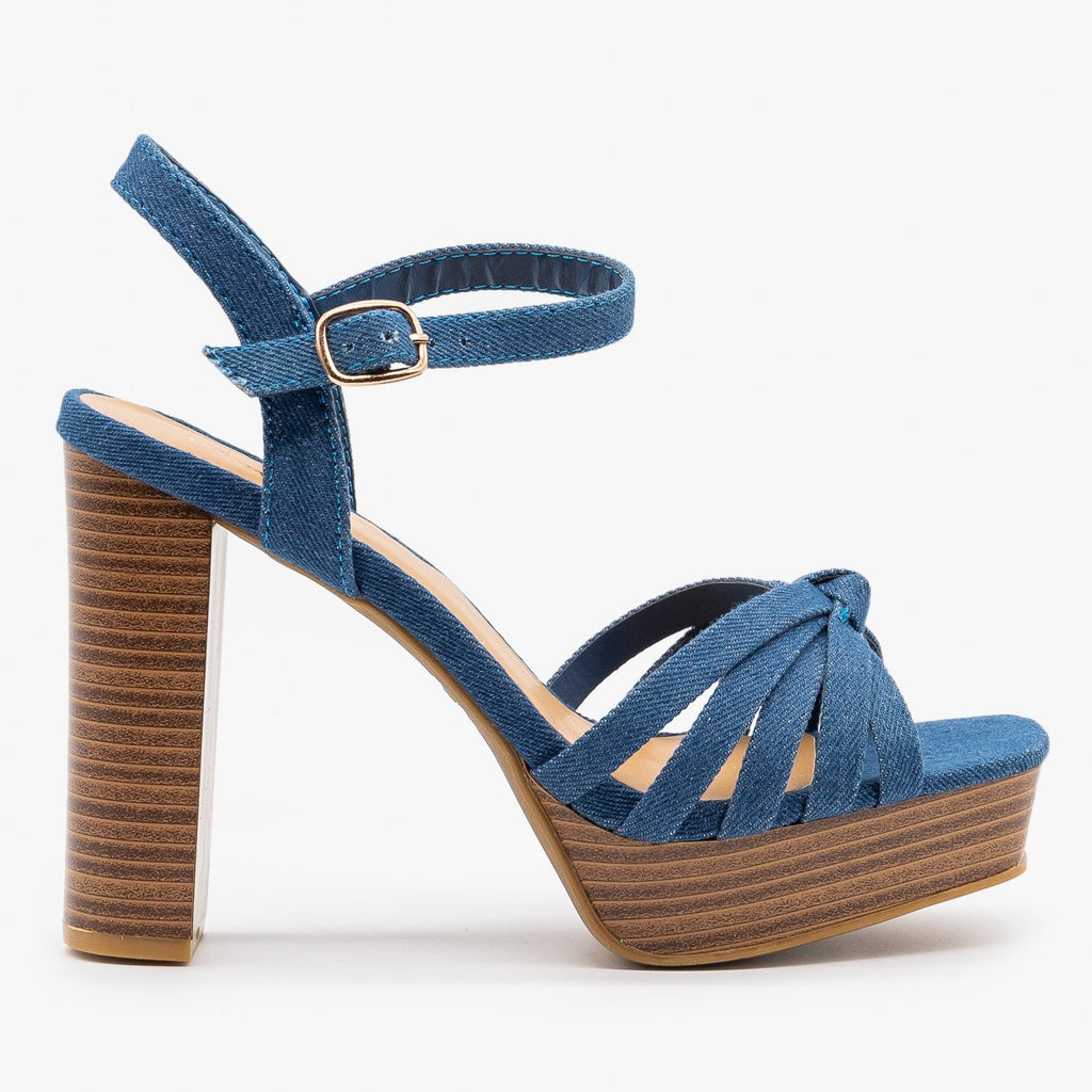 Womens Knotted Strappy High Heels - Bamboo Shoes - Blue Denim / 5