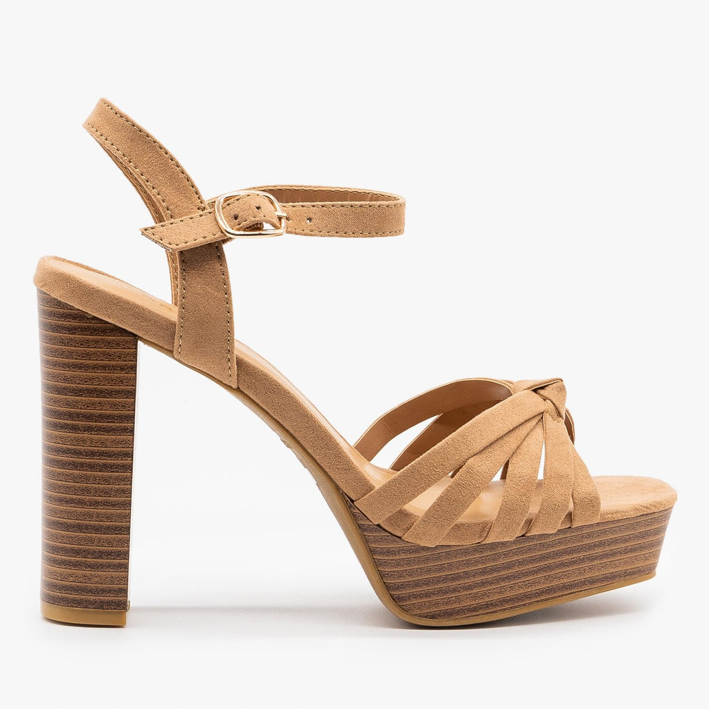 Womens Knotted Strappy High Heels - Bamboo Shoes - Camel / 5
