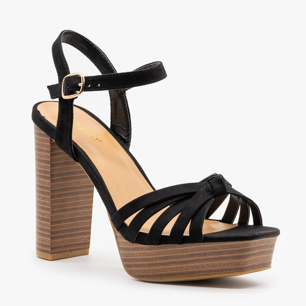 Womens Knotted Strappy High Heels - Bamboo Shoes