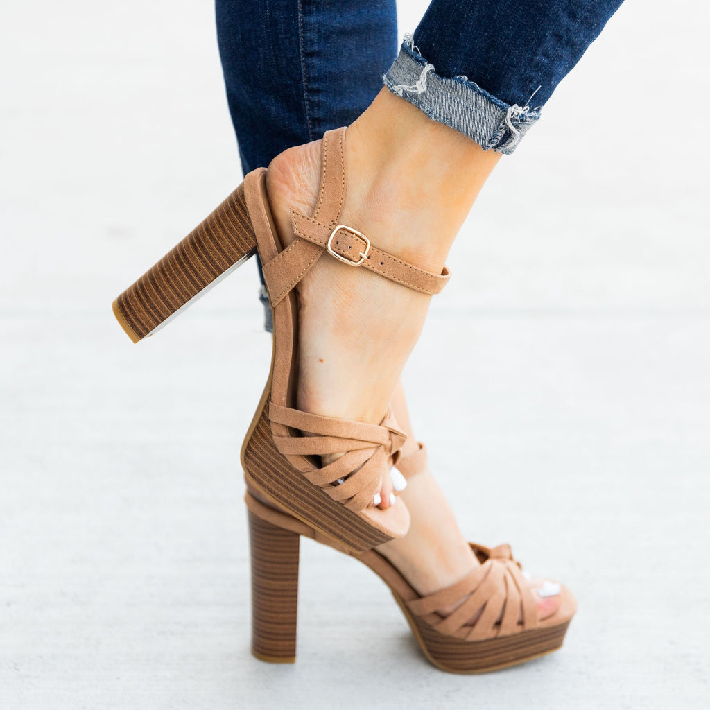 Women's Knotted Strappy High Heels - Bamboo Shoes