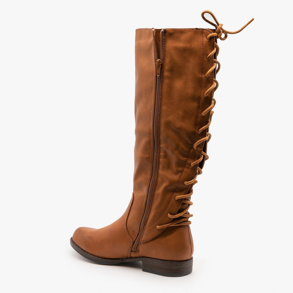 Womens Lace-Up Back Riding Boots - Bamboo Shoes