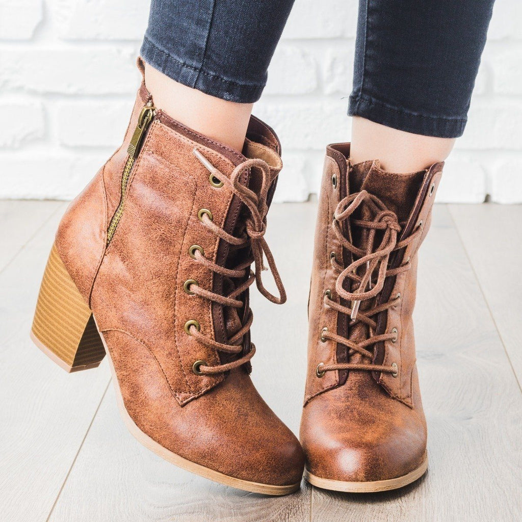 Womens Lace Up Bootie - Qupid Shoes