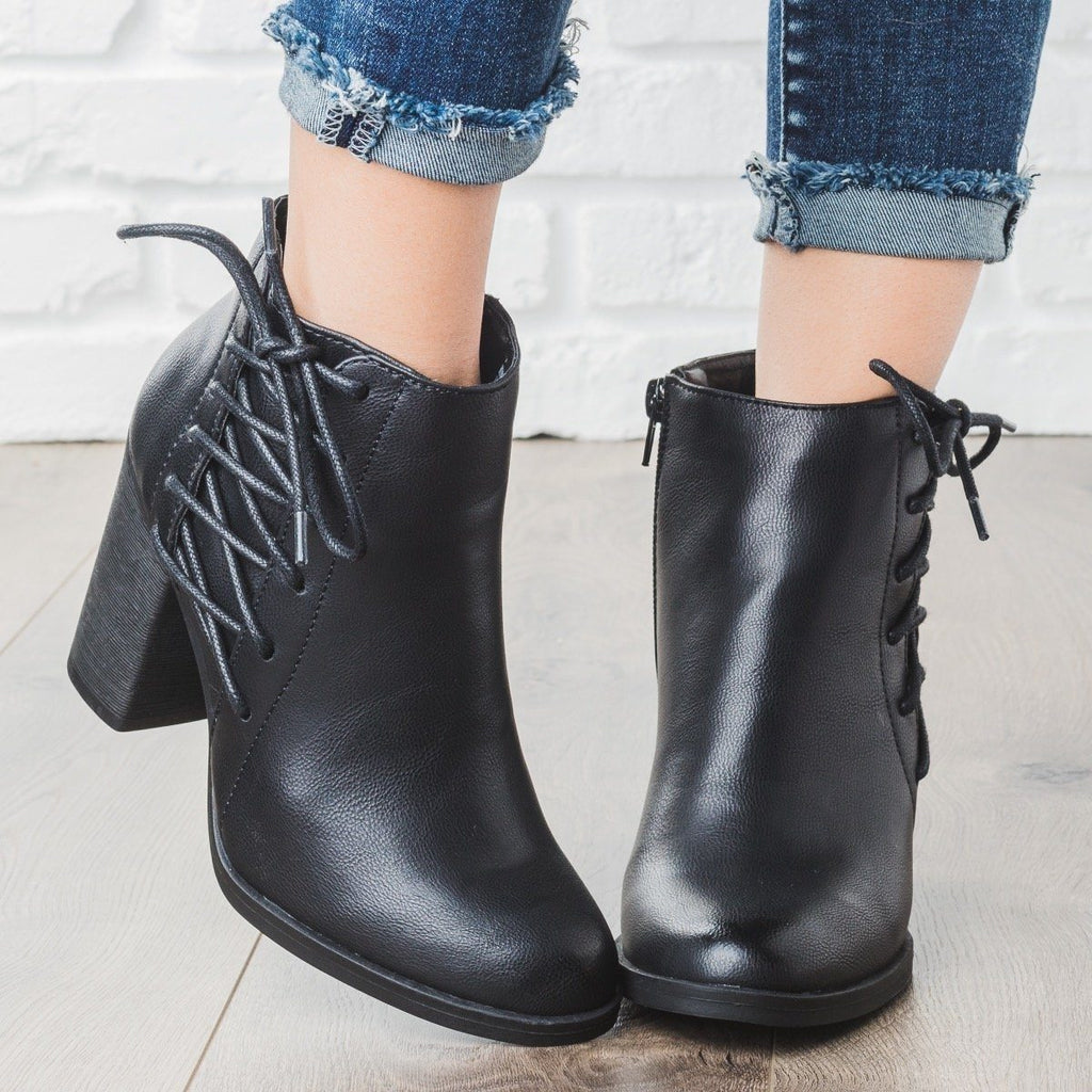 Womens Lace-up Chunky Heel Booties - Bamboo Shoes - Black / 5