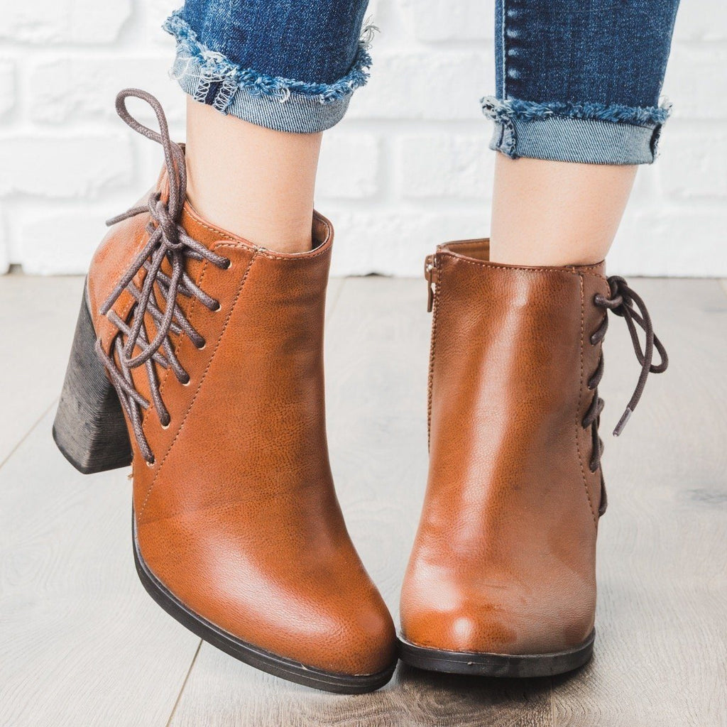 Womens Lace-up Chunky Heel Booties - Bamboo Shoes - Chestnut / 5