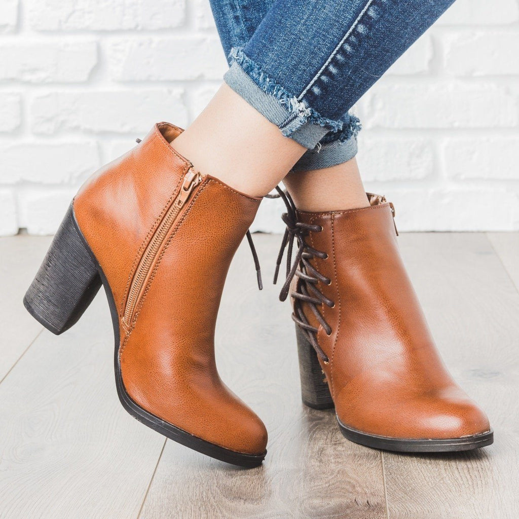 Womens Lace-up Chunky Heel Booties - Bamboo Shoes