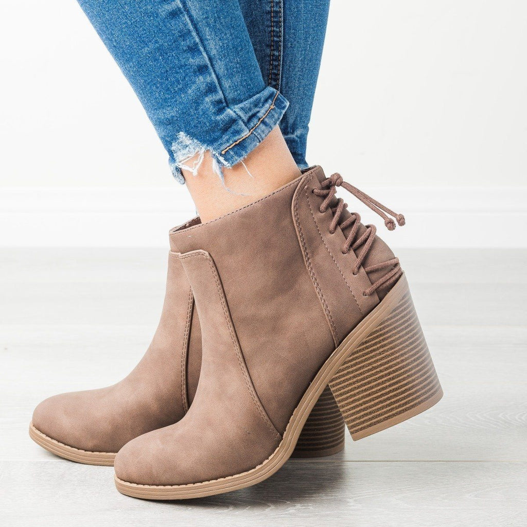 Womens Lace-Up Chunky Heel Booties - Soda Shoes - Brown / 5