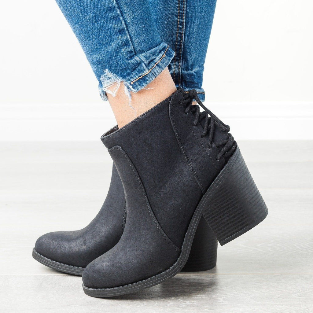 Womens Lace-Up Chunky Heel Booties - Soda Shoes - Black / 5