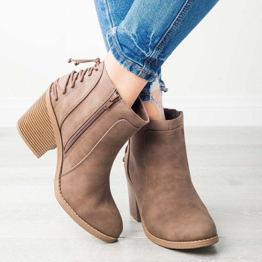 Womens Lace-Up Chunky Heel Booties - Soda Shoes