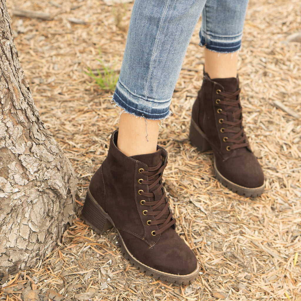 Women's Luxury Combat Boots - Reneeze Shoes - Dark Brown / 5