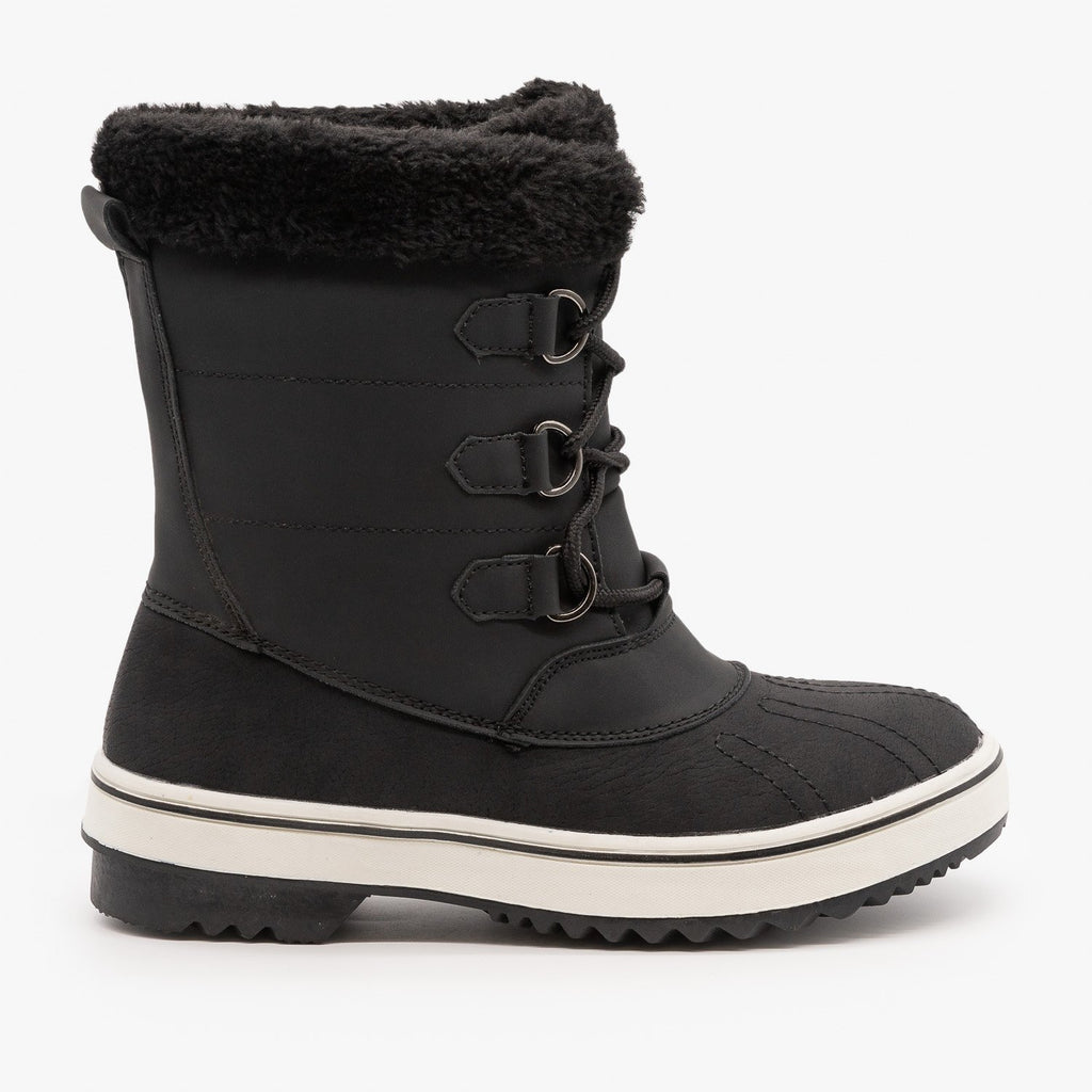 Womens Lace Up Cuffed Winter Boots - Top Moda - Black / 5